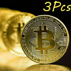 3Pcs Gold Bitcoin Coins Commemorative 2021 New Collectors Gold Plated Bit Coin