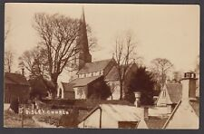 Postcard Bisley Church near Stroud Gloucestershire and houses RP early view