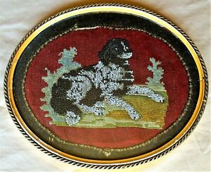 Gold Framed Oval Victorian Beaded Portrait a Spaniel on a Needlepoint Background