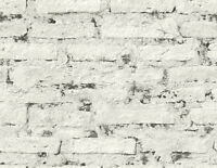 Brick Wallpaper White Gray Distressed Abstract Industrial Samples Available