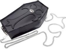 NEW Soft Black Leather Small Coffin Purse Cross Chain Strap Alchemy Gothic LG6