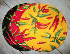 """Green Red Chili Peppers Allover 10"""" Round Tortilla Pita Naan Microwave Warmer"""