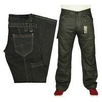 Men's Kruze Classic Fit Straight Leg In Black Coated Casual Denim Jeans Pants