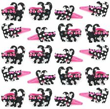 Zest 20 Sequinned Cat Hair Accessories 10 Ponios & 10 Clips Pink & Black