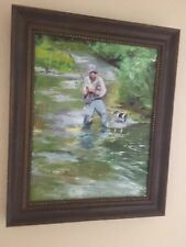 Original flyfishing oil painting by local art/design professor/author