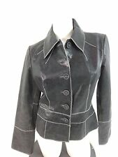 NEWPORT NEWS WOMENS BLACK DISTRESSED LEATHER BUTTON FRONT JACKET SIZE 12