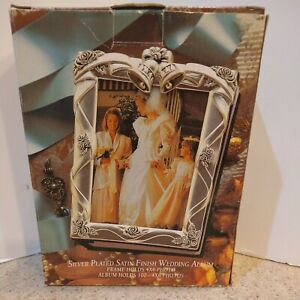 Godinger Vintage 1995 Silver Plated Satin Finish Wedding Album Holds 100 4x6 NOS