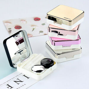Mini Travel Contact Lens Case Box Container Holder Eye Care Kit With Mirror New
