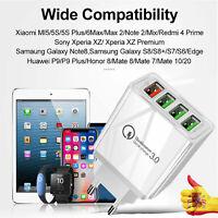 Cargador Carga rápida 3.0 QC Qualcomm Pared Enchufe Casa 4 Puertos USB Móvil