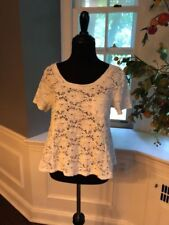 Ladies Free People White Lace Short Sleeve Top Size Large