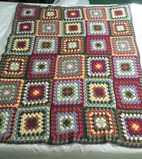 """Granny Squares Multi-Color Crochet Afghan Quilt Throw 46 x 57"""""""