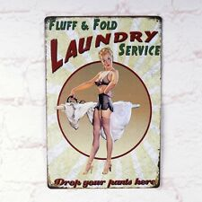 Vintage Metal Tin Sign Sexy Pin Up Girl Decor Home Laundry Wall Poster Plaque