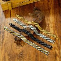 Armband Herren Edelstahl Männer Armkette Armreif 12mm Breit Schwarz Silber Gold