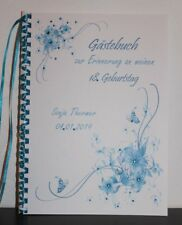 Gästebuch zum Geburtstag oder Jubiläum für jedes Alter , türkis - blau