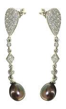 Edle lange Ohrhänger Weißgold 585 mit grauen Perlen Ohrstecker Gold - Perle grau