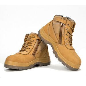ROCKROOSTER Men's Work Boots Steel Toe Safety Shoes Zip-Sider Wheat Comfortable