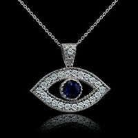 "0.50Ct Diamond & Blue Sapphire Evil Eye Pendant W/18"" Chain 14K White Gold Over"
