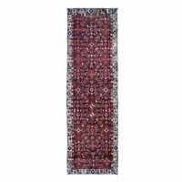 """3'2""""x10'10"""" Pure Wool Fish Design Hand Knotted Runner Tribal Oriental Rug R48965"""