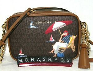 Michael Kors Jet Set Brown Signature Camera Crossbody Bag Kors Beach Club NEW