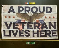 Donald Trump Flag *FREE FIRST CLASS SHIP!* Proud Veteran Army Navy Sign 3x5'