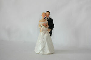 Wedding Cake Topper, Bride & Groom, Hand Painted Resin, Approx 10cm x 5cm (R)