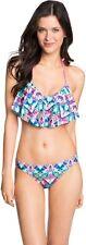 AEROPOSTALE Fiesta Flutter Rainbow Padded Bikini Top Hipster Bottoms Swimsuit M