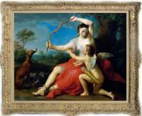 Hand Painted Old Master-Art Antique Oil Painting Portrait Cupid on canvas