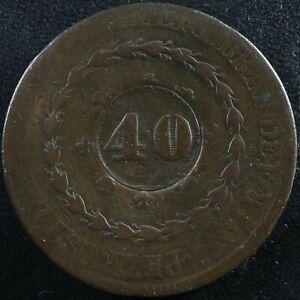 40 Reis (1835) Brazil counterstamp on 80 Reis 1831 KM#446 Copper Brézil Brasil