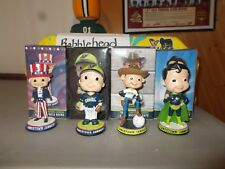 NIB LOT OF 4 JAMESTOWN JAMMERS BOBBLEHEAD SUPERHERO-WESTERN-BOBBLE BOY-UNCLE SAM