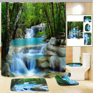 3D Waterfall Shower Curtain Non-Slip Bathroom Decor Toilet Cover Lid Rug Mat Set