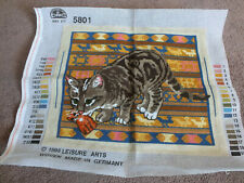 """Collectible Needlepoint Sampler Worked Ready to Frame Cat w/Cat toy 14 1/2 x 12"""""""