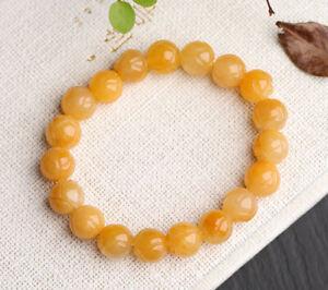 10mm Lotus Huanglongyu Yellow Jade Bead Bracelet