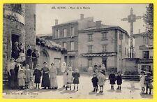 cpa RARE AUREC sur LOIRE (Hte Loire) Place de la MAIRIE Animée IMPRIMERIE HÔTEL