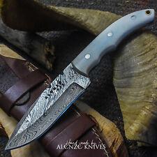 ALONZO USA CUSTOM HANDMADE DAMASCUS SURVIVAL HUNTING KNIFE CAMEL BONE 25277