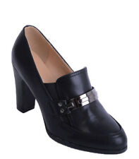 S94 - Ladies Faux Leather Block Heeled Loafer Court Shoe Metal Buckle - UK 3-7