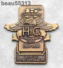 1983-1998 HARLEY DAVIDSON OWNERS GROUP HOG 15th ANNIVERSARY LIFE MEMBER VEST PIN