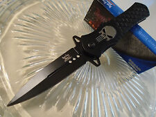 Dark Side Ballistic Assisted Black Punisher Skull Stiletto Dagger Pocket Knife