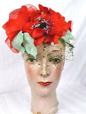New listing Vintage 50s Dramatic Large Silk Poppy Hat Flamenco Gypsy
