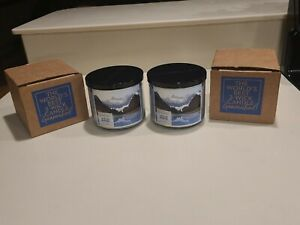 2X Bath & Body Works LAKESIDE MORNING 3 Wick Scented Candles 14.5oz Lot/Pair