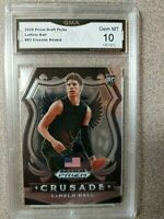 2020-21 LAMELO BALL PANINI PRIZM CRUSADE GRADED GEM MINT 10 ROOKIE CARD HORNETS