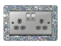 Double Light Switch / Socket Surround Acrylic Finger Plate Silver Sequin