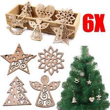 DIY 6x Christmas Wood Chip Tree Ornaments Hanging Pendant Xmas Home Decor Gifts