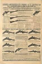 PUBLICITÉ  MANUFACTURE ARMES SAINT ETIENNE FUSILS CHASSE REVOLVERS 1898