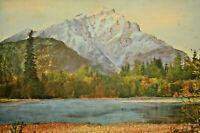 Antique Original Hudson River Cascade Mountain Banff Gouache Watercolor Painting