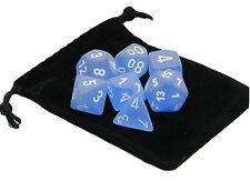 New Chessex Polyhedral Dice with Bag Blue Frosted 7 Piece Set DnD RPG