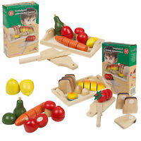 8-9 Piece Childrens Wooden Food Kitchen Pretend Clay Fruit & Veg Bread Set Toys