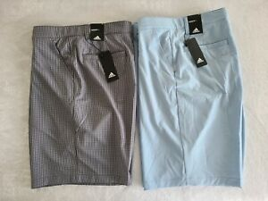 NWT Adidas Ultimate 365 3 stripe lot of 2 Golf Shorts gingham & blue men size 38