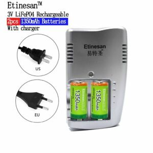 High Quality 1350mAh CR123A LiFePo4 Rechargeable Battery + 2 Slots Smart Charger