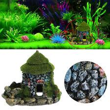 Castle Aquarium Ornament Fish Tank Hiding Cave With Moss Landscape Decoration