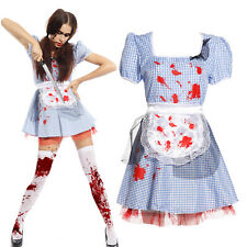 Size 8 10 Blue Zombie Blood Maid Cosplay Costumes Fancy Dress Kits with Apron